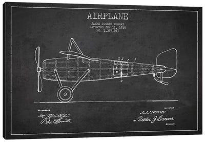 Airplane Charcoal Patent Blueprint Canvas Art Print