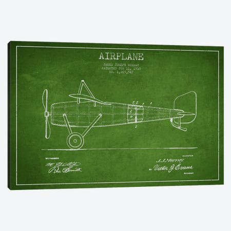Airplane Green Patent Blueprint Canvas Print #ADP2311} by Aged Pixel Canvas Art