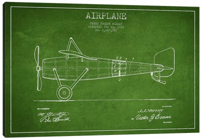 Airplane Green Patent Blueprint Canvas Art Print
