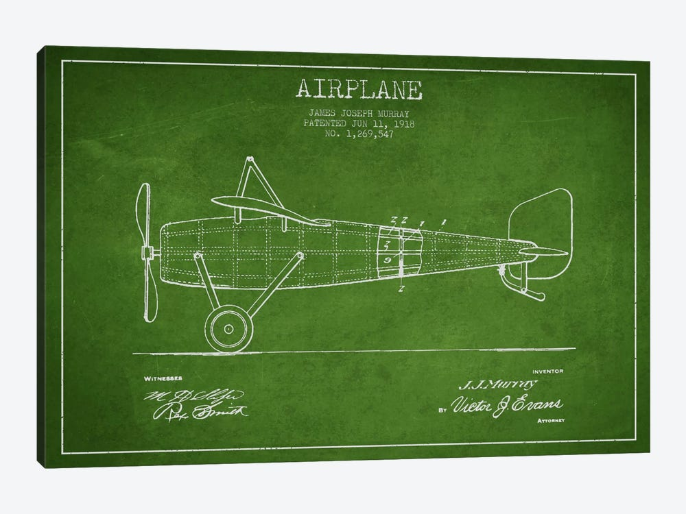 Airplane Green Patent Blueprint by Aged Pixel 1-piece Canvas Art