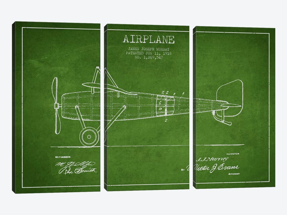 Airplane Green Patent Blueprint by Aged Pixel 3-piece Canvas Artwork