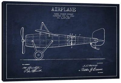 Airplane Navy Blue Patent Blueprint Canvas Print #ADP2312