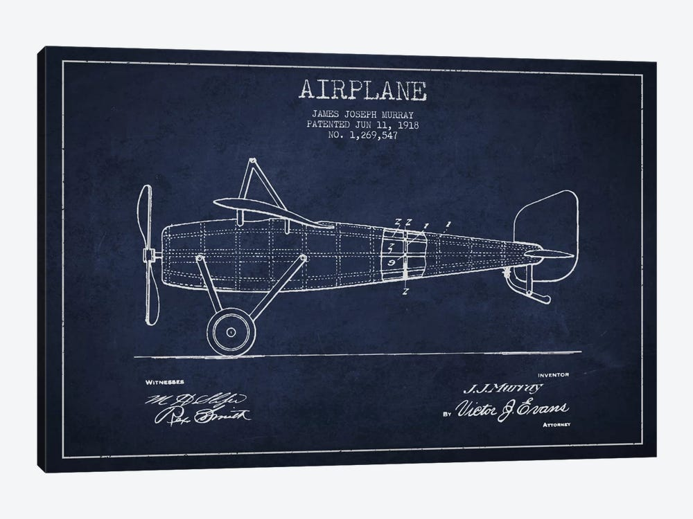 Airplane Navy Blue Patent Blueprint by Aged Pixel 1-piece Canvas Print