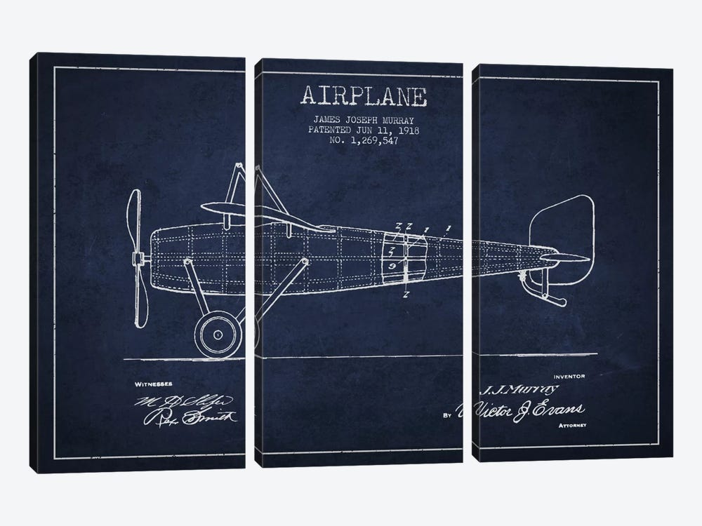 Airplane Navy Blue Patent Blueprint by Aged Pixel 3-piece Canvas Art Print