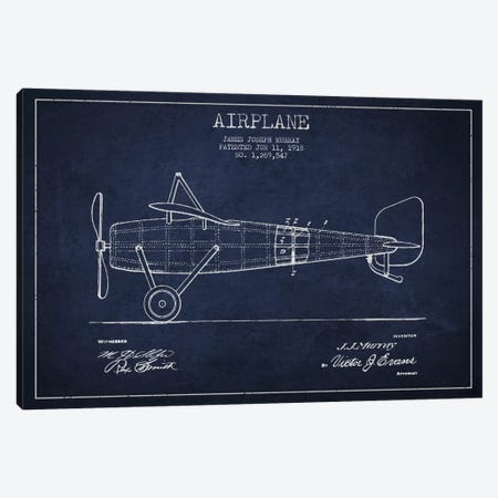 Airplane Navy Blue Patent Blueprint Canvas Print #ADP2312} by Aged Pixel Canvas Artwork