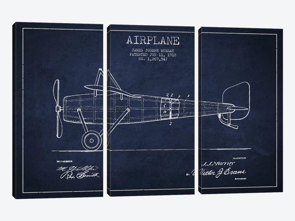 Airplane Navy Blue Patent Blueprint by Aged Pixel 3-piece Canvas Art Print