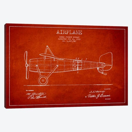 Airplane Red Patent Blueprint Canvas Print #ADP2313} by Aged Pixel Canvas Art