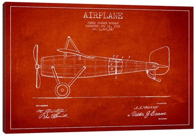 Airplane Red Patent Blueprint Canvas Art Print