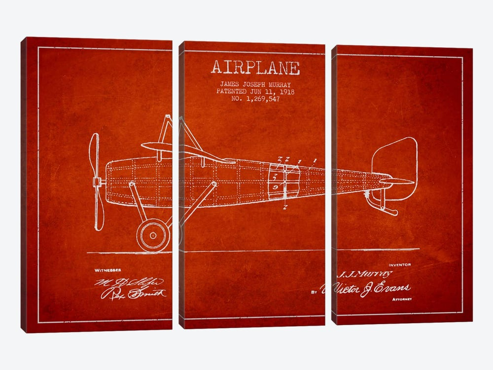 Airplane Red Patent Blueprint by Aged Pixel 3-piece Canvas Art