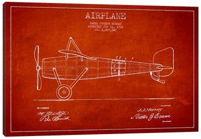 Airplane Red Patent Blueprint Canvas Art Print