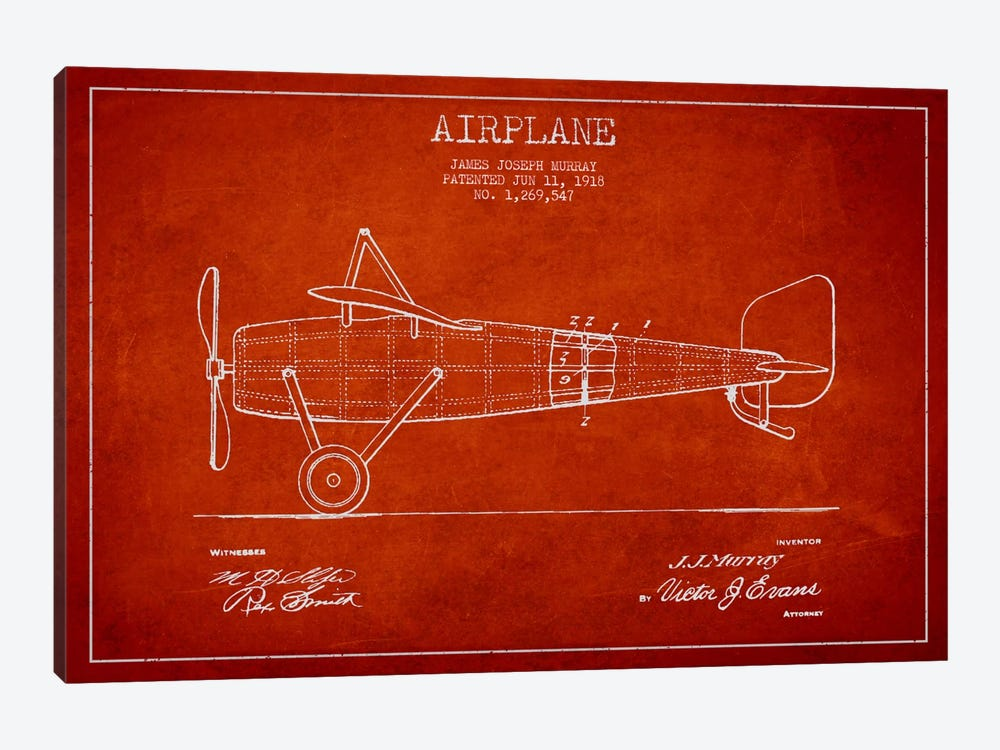 Airplane Red Patent Blueprint by Aged Pixel 1-piece Canvas Art