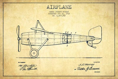 Airplane vintage patent blueprint canvas artwork by aged pixel icanvas canvas malvernweather Image collections
