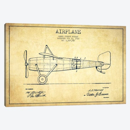 Airplane Vintage Patent Blueprint Canvas Print #ADP2314} by Aged Pixel Canvas Art Print