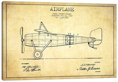 Airplane Vintage Patent Blueprint Canvas Print #ADP2314