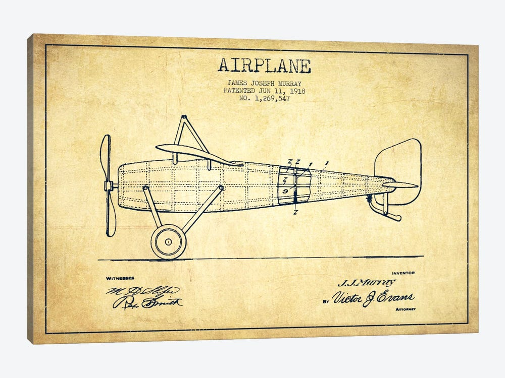 Airplane vintage patent blueprint canvas artwork by aged pixel icanvas airplane vintage patent blueprint by aged pixel 1 piece art print malvernweather Images