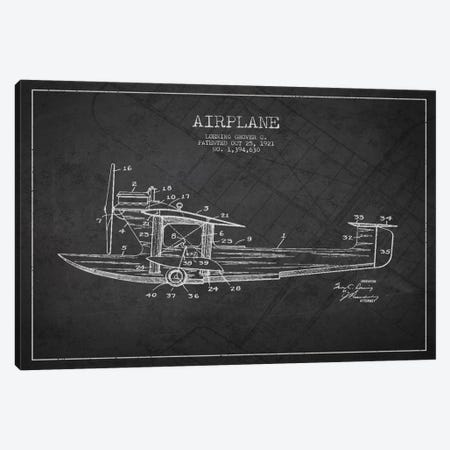 Airplane Charcoal Patent Blueprint Canvas Print #ADP2315} by Aged Pixel Canvas Print