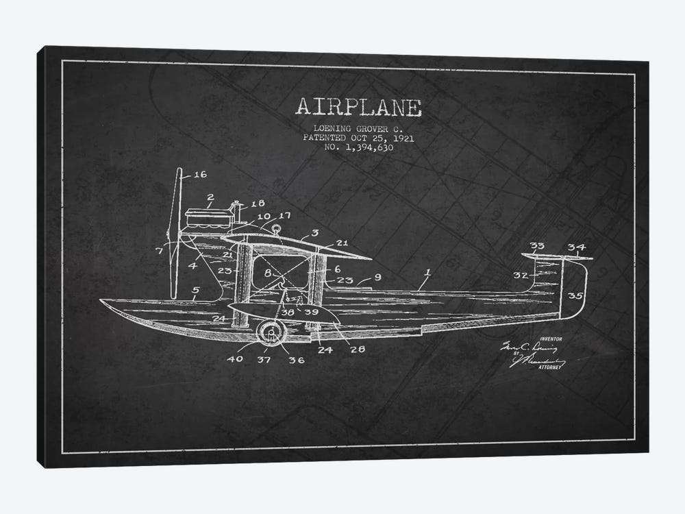 Airplane Charcoal Patent Blueprint by Aged Pixel 1-piece Canvas Wall Art