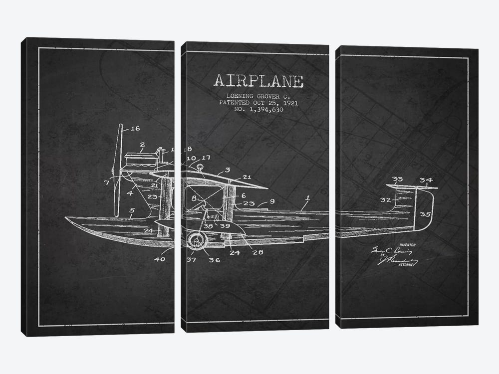 Airplane Charcoal Patent Blueprint by Aged Pixel 3-piece Canvas Wall Art