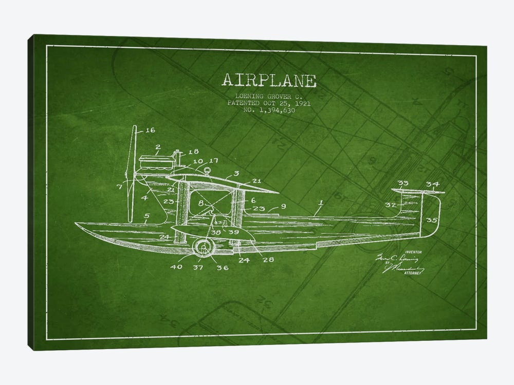 Airplane Green Patent Blueprint by Aged Pixel 1-piece Canvas Print