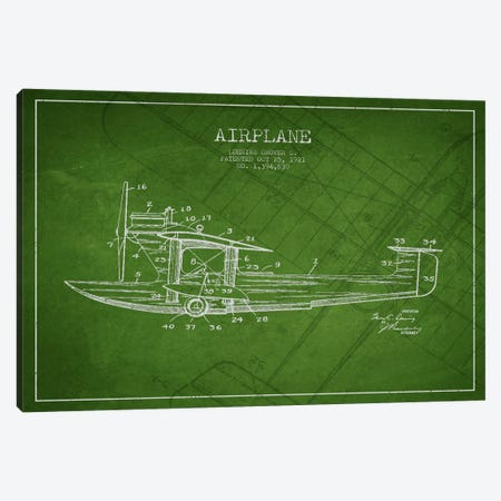 Airplane Green Patent Blueprint Canvas Print #ADP2316} by Aged Pixel Art Print