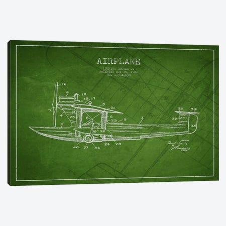 Airplane Green Patent Blueprint Canvas Print #ADP2316} by Aged Pixel Art Print
