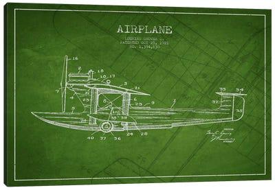 Airplane Green Patent Blueprint Canvas Art Print