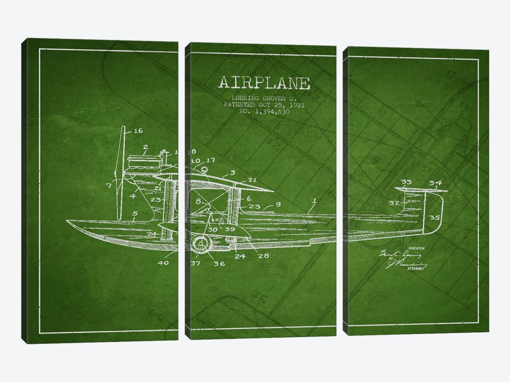 Airplane Green Patent Blueprint by Aged Pixel 3-piece Canvas Print