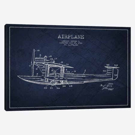 Airplane Navy Blue Patent Blueprint Canvas Print #ADP2317} by Aged Pixel Art Print