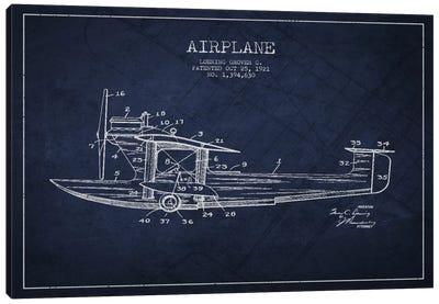 Airplane Navy Blue Patent Blueprint Canvas Print #ADP2317