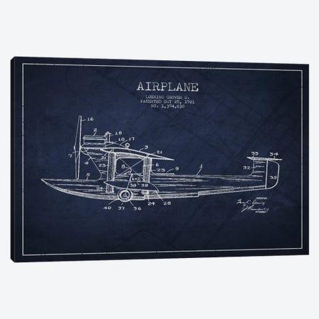 Airplane Navy Blue Patent Blueprint Canvas Print #ADP2317} by Aged Pixel Art Print