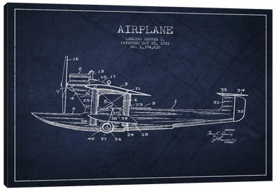 Airplane Navy Blue Patent Blueprint Canvas Art Print
