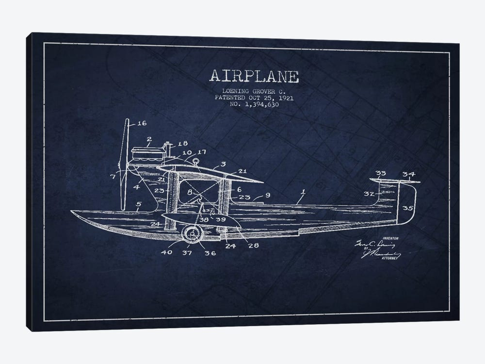 Airplane Navy Blue Patent Blueprint by Aged Pixel 1-piece Canvas Wall Art