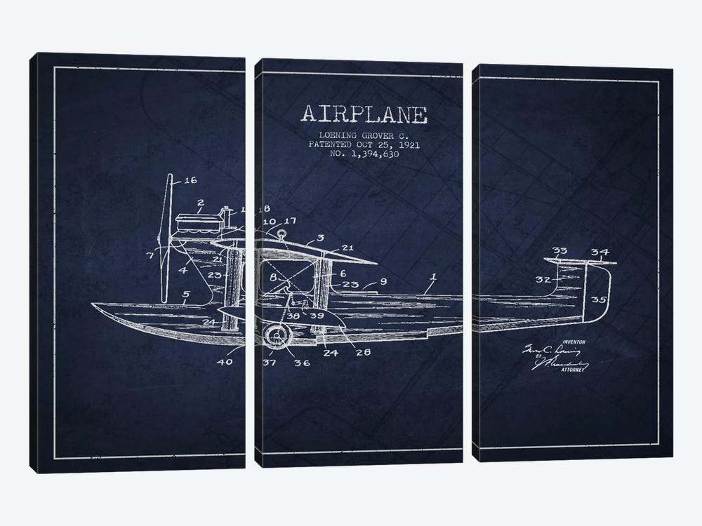 Airplane Navy Blue Patent Blueprint by Aged Pixel 3-piece Canvas Art