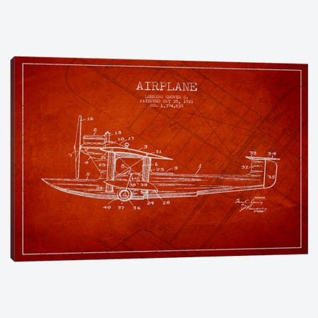 Airplane Red Patent Blueprint Canvas Print #ADP2318} by Aged Pixel Canvas Wall Art