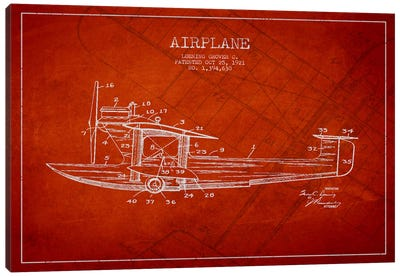 Airplane Red Patent Blueprint Canvas Print #ADP2318