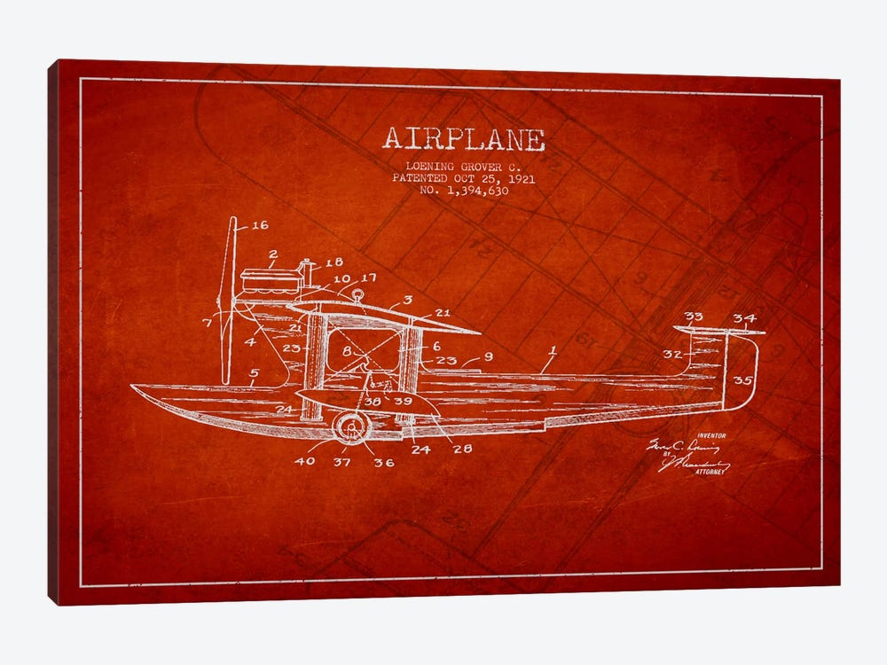 Airplane Red Patent Blueprint by Aged Pixel 1-piece Canvas Art Print