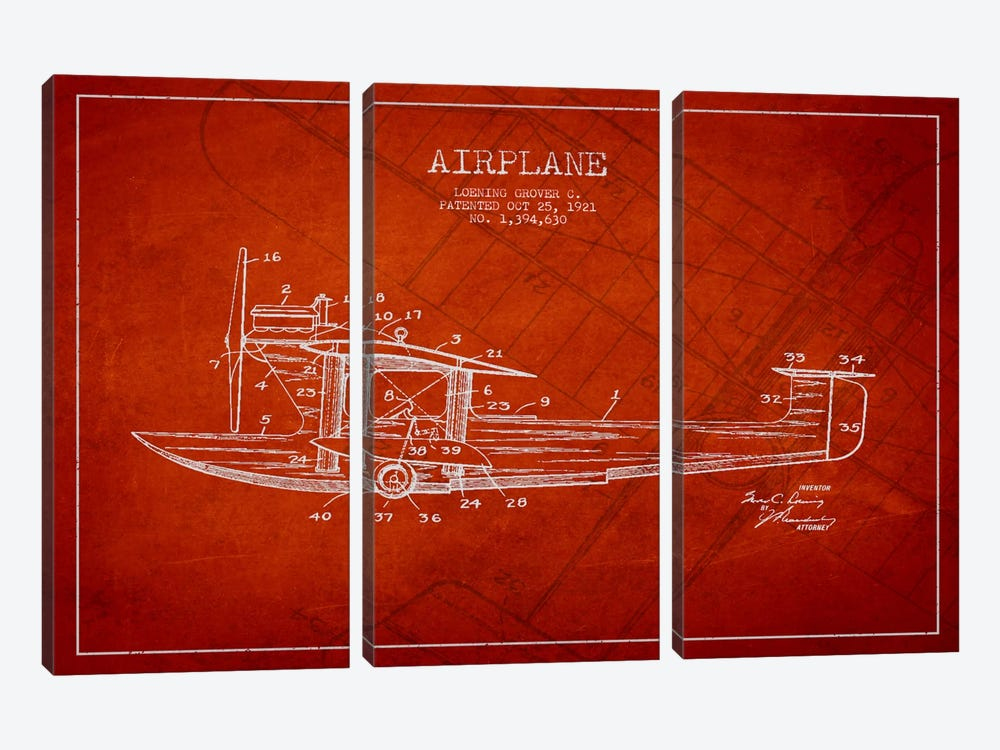 Airplane Red Patent Blueprint by Aged Pixel 3-piece Canvas Art Print