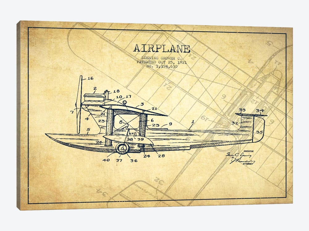 Airplane Vintage Patent Blueprint by Aged Pixel 1-piece Canvas Artwork