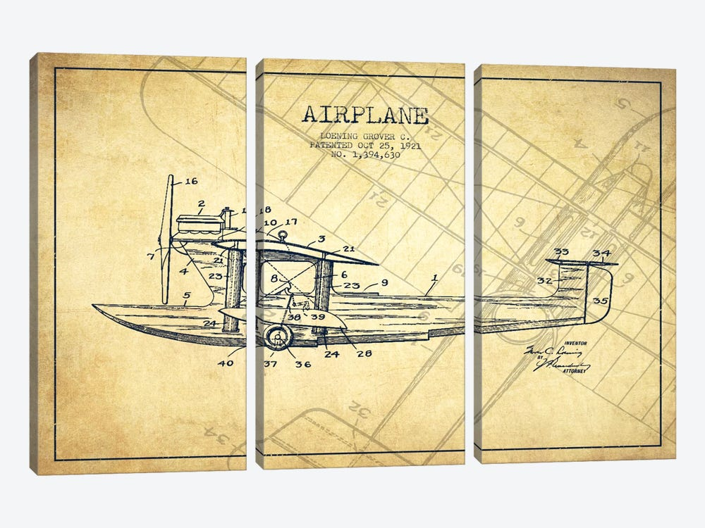 Airplane Vintage Patent Blueprint 3-piece Canvas Artwork