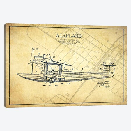Airplane Vintage Patent Blueprint 3-Piece Canvas #ADP2319} by Aged Pixel Canvas Artwork