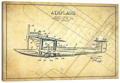 Airplane Vintage Patent Blueprint Canvas Art Print