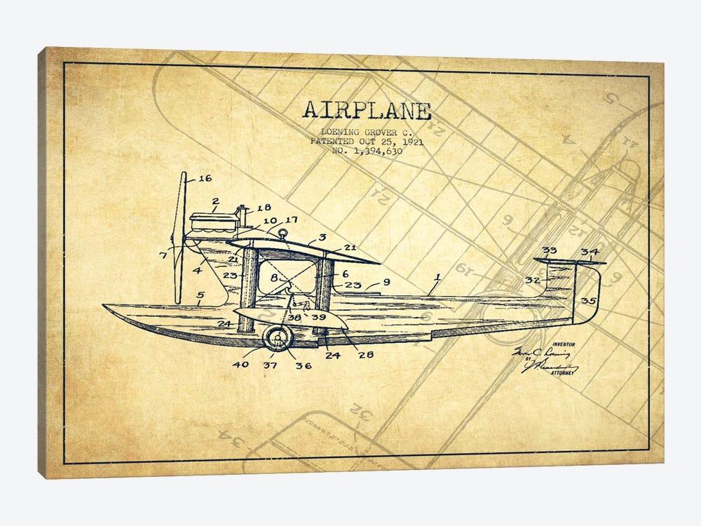 Airplane Vintage Patent Blueprint by Aged Pixel 1-piece Canvas Artwork