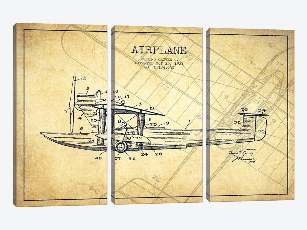 Airplane Vintage Patent Blueprint by Aged Pixel 3-piece Canvas Artwork