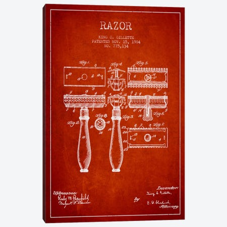Razor Red Patent Blueprint Canvas Print #ADP231} by Aged Pixel Canvas Art