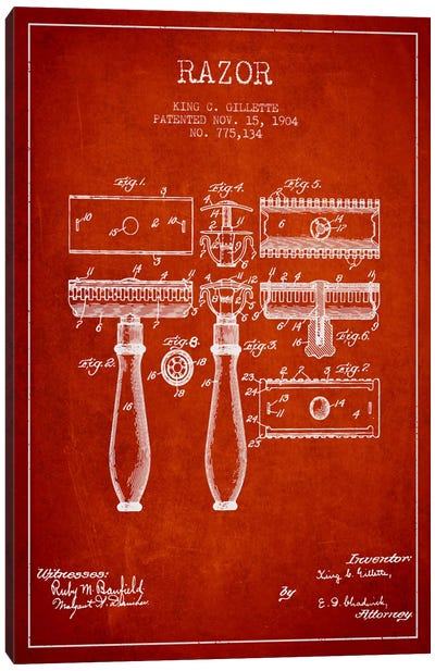 Razor Red Patent Blueprint Canvas Art Print