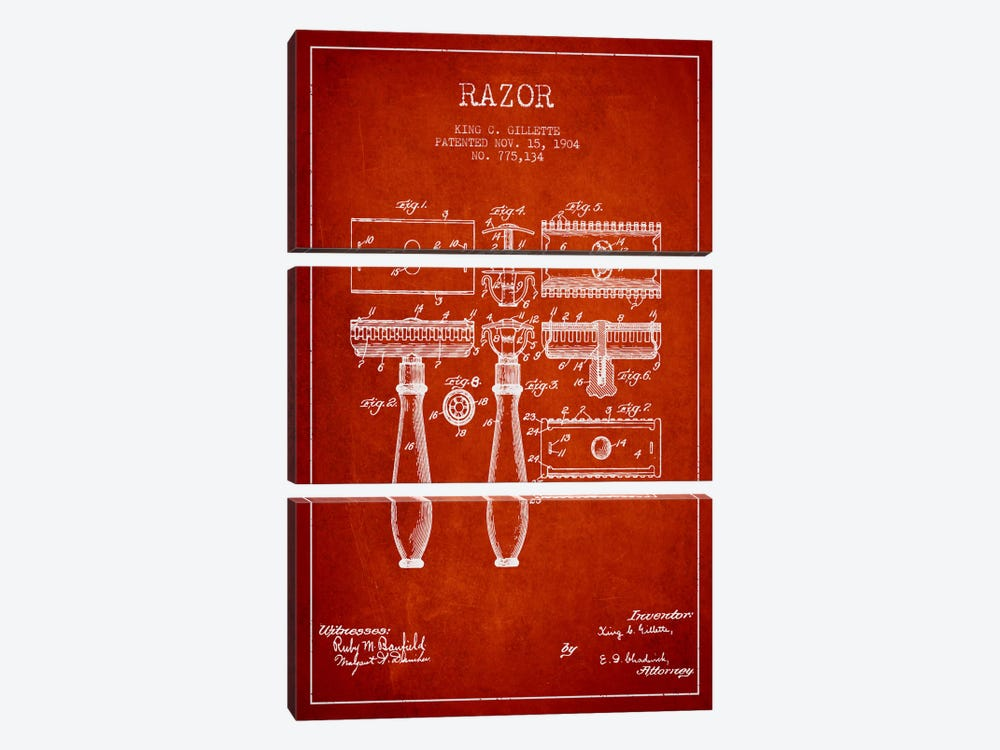 Razor Red Patent Blueprint by Aged Pixel 3-piece Canvas Art