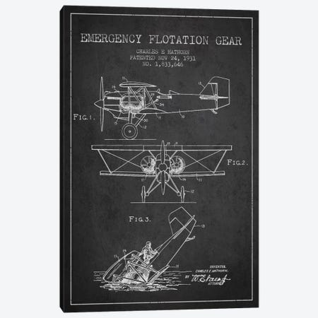 Float Plane Charcoal Patent Blueprint Canvas Print #ADP2320} by Aged Pixel Canvas Print