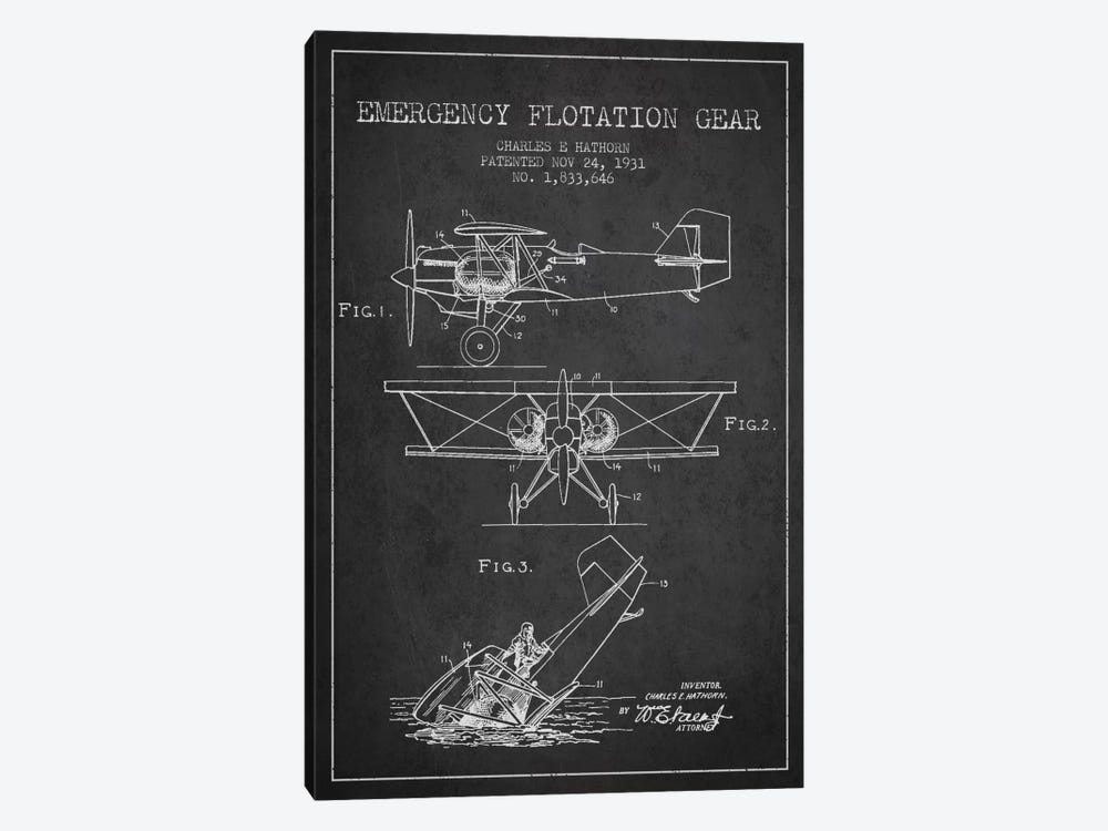 Float Plane Charcoal Patent Blueprint by Aged Pixel 1-piece Canvas Artwork