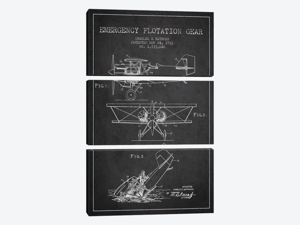 Float Plane Charcoal Patent Blueprint by Aged Pixel 3-piece Canvas Art