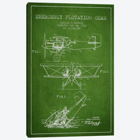 Float Plane Green Patent Blueprint Canvas Print #ADP2321} by Aged Pixel Canvas Print